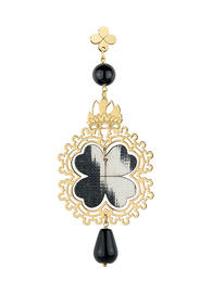 small-black-silver-fourleaf-clover-single-earring