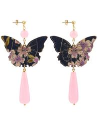 butterfly-silk-long-drop-pink-earrings