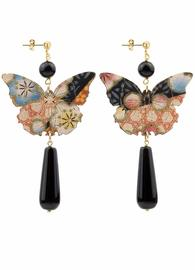 butterfly-black-long-drop-silk-earrings