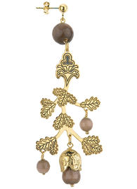 single-leaf-and-brown-bell-earring