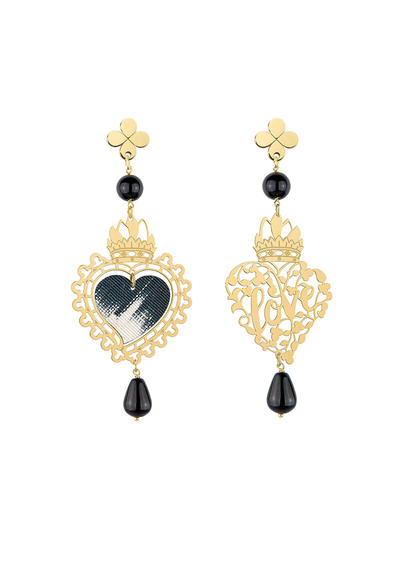 perforated-heart-and-mini-black-silk-earrings