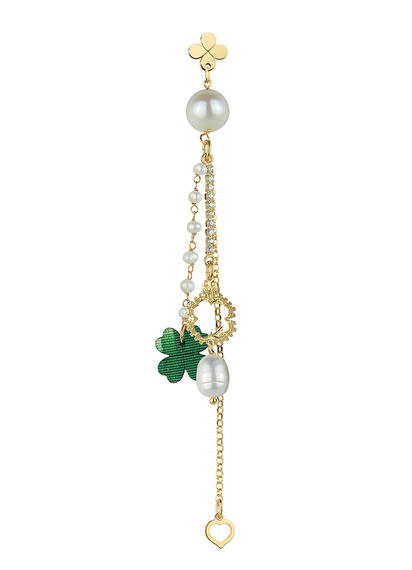 single-earring-fourleaf-clover-tuft-rosary-pearl