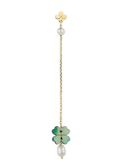 single-fourleaf-clover-earring-with-pearl-chain