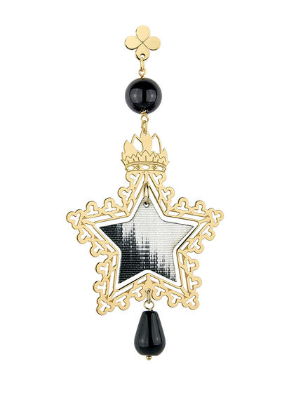 small-black-silver-single-star-earring