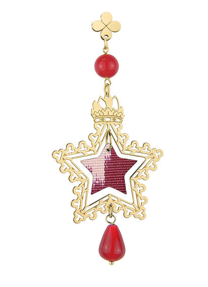 small-red-silver-single-star-earring