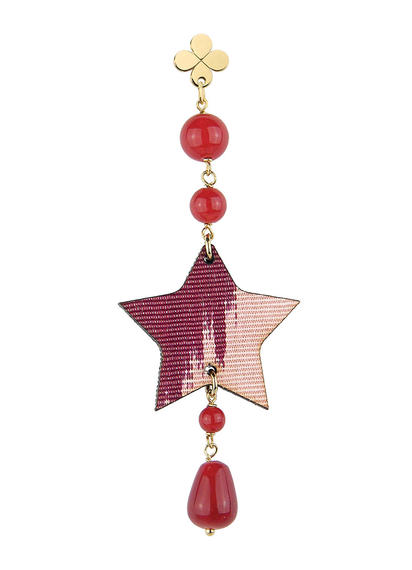 single-star-earring-silk-red