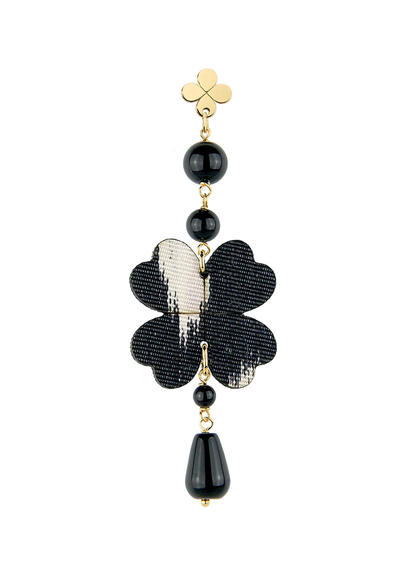 black-silk-fourleaf-clover-single-earring