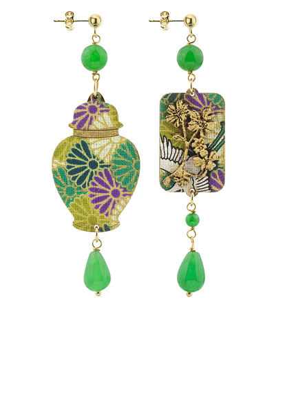 earrings-vase-silk-and-green-leather