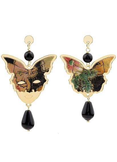 butterfly-and-mask-silver-mini-black-earrings