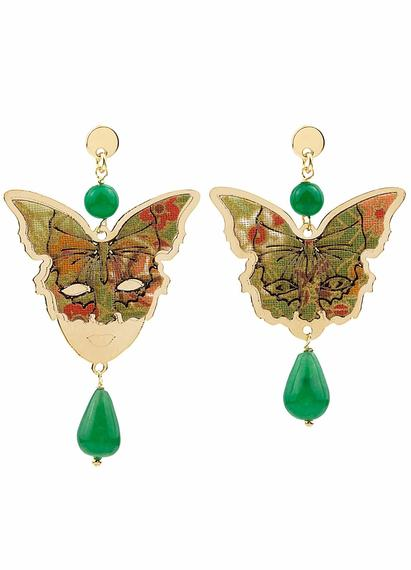 butterfly-and-mask-silver-mini-green-earrings