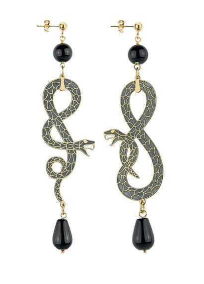 snake-eight-and-coiled-snake-mini-black-earrings