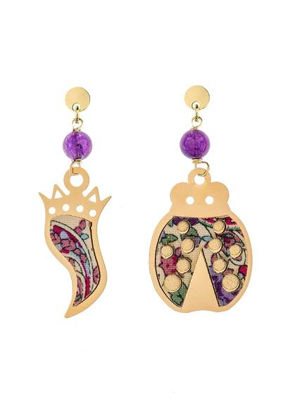 mini-purple-horn-and-ladybug-earrings