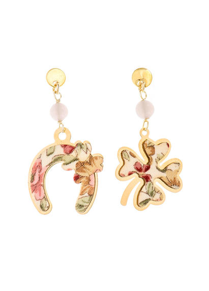 fourleaf-clover-and-mini-pink-horseshoe-earrings