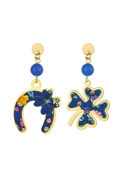 fourleaf-clover-and-mini-blue-horseshoe-earrings