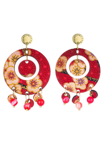 earrings-tan-mono-round-red